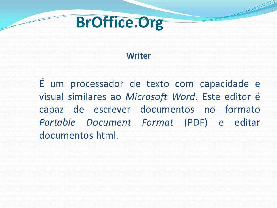 Writer – É um processador de texto com capacidade e visual similares ao Microsoft Word. Este editor é capaz de escrever documentos no formato Portable