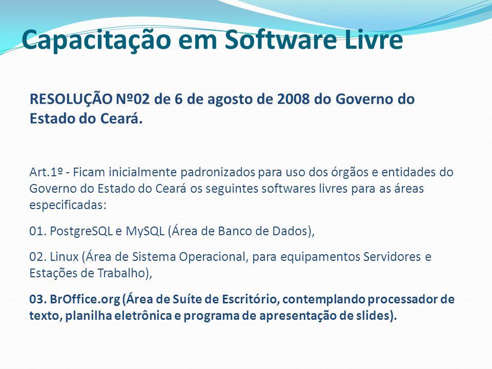 RESOLUÇÃO Nº02 de 6 de agosto de 2008 do Governo do Estado do Ceará. Art.1º - Ficam inicialmente padronizados para uso dos órgãos e entidades do Gover