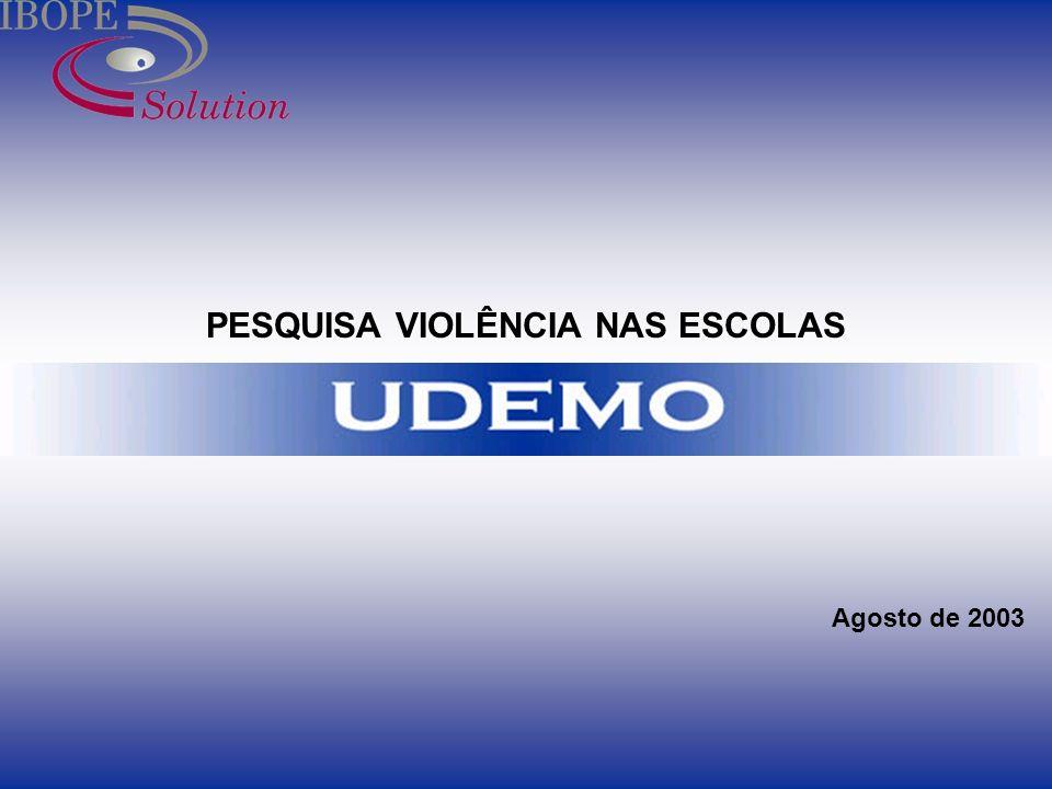 1 PESQUISA VIOLÊNCIA NAS ESCOLAS Agosto de 2003