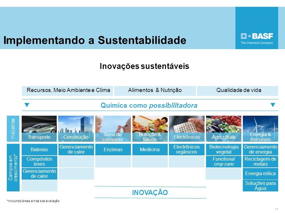 Implementando a Sustentabilidade 11 Recursos, Meio Ambiente e Clima Alimentos & NutriçãoQualidade de vida Química como possibilitadora Nutrição & Saúd