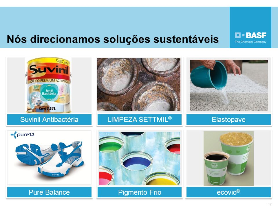 Nós direcionamos soluções sustentáveis 12 Suvinil Antibactéria LIMPEZA SETTMIL ® Elastopave Pure Balance Pigmento Frio ecovio ®