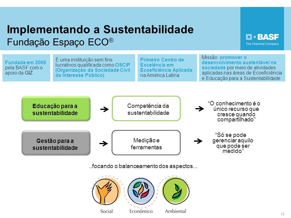 Implementando a Sustentabilidade Fundação Espaço ECO ® 13 Fundada em 2005 pela BASF com o apoio da GIZ É uma instituição sem fins lucrativos qualifica