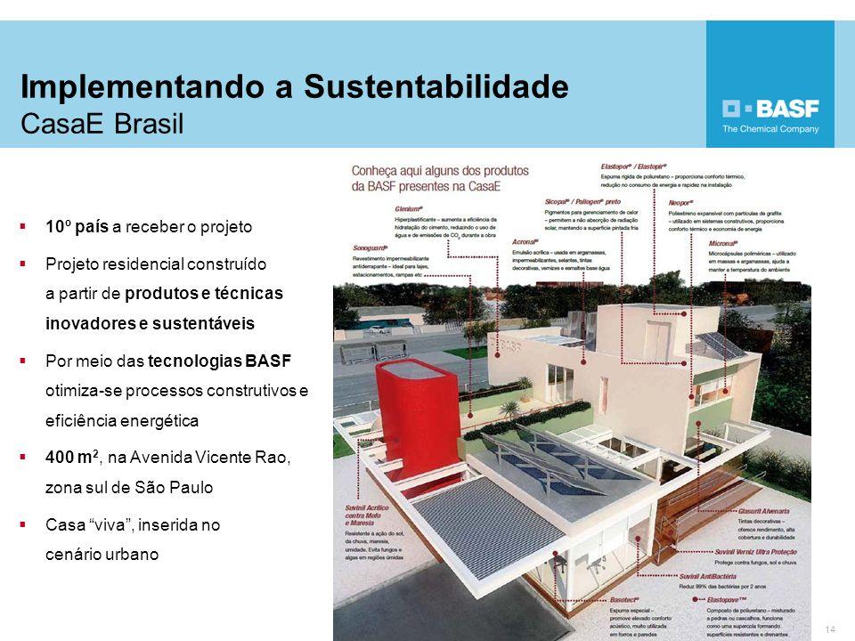 14 10º país a receber o projeto Projeto residencial construído a partir de produtos e técnicas inovadores e sustentáveis Por meio das tecnologias BASF