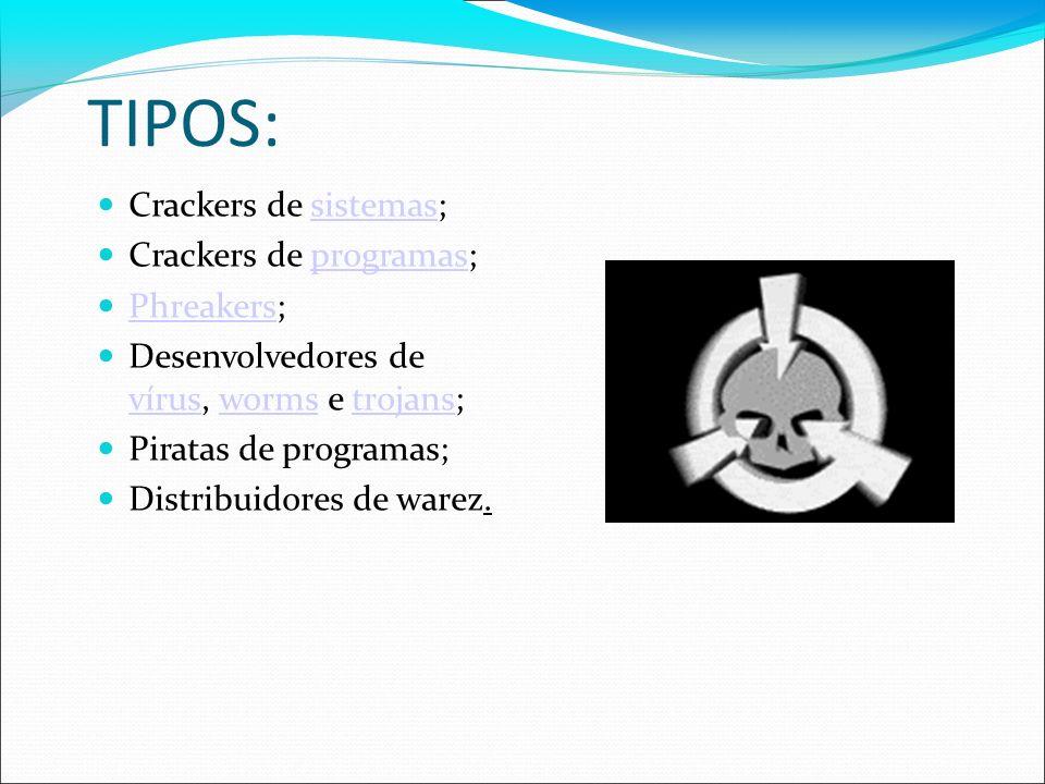 TIPOS: Crackers de sistemas;sistemas Crackers de programas;programas Phreakers; Phreakers Desenvolvedores de vírus, worms e trojans; víruswormstrojans