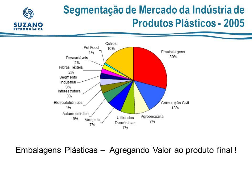 A Competitividade da Indústria Plástica no Estado de São Paulo No CNAE Fabricação de Produtos de Plástico apesar de São Paulo ser líder apresenta tendência de queda de sua participação relativa sobre o restante do Brasil, com queda nos indicadores abaixo: pp CNAE 252 Fabricação de Produtos de Plástico São Paulo sobre o Brasil (% de participação) 19962004 1996 menos 2004 Número de unidades locais % 56,1%50,5%-5,6% Pessoal ocupado em 31/12 % 55,9%45,2%-10,7% Salários, retiradas e outras remunerações % 65,9%56,4%-9,4% Valor da transformação industrial % 61,7%51,3%-10,4%