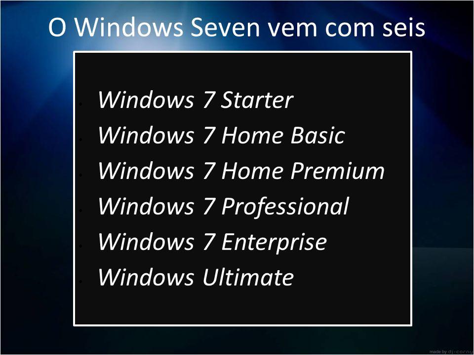 O Windows Seven vem com seis versões: Windows 7 Starter Windows 7 Home Basic Windows 7 Home Premium Windows 7 Professional Windows 7 Enterprise Window