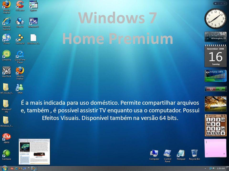 Windows 7 Home Premium É a mais indicada para uso doméstico. Permite compartilhar arquivos e, também, é possível assistir TV enquanto usa o computador