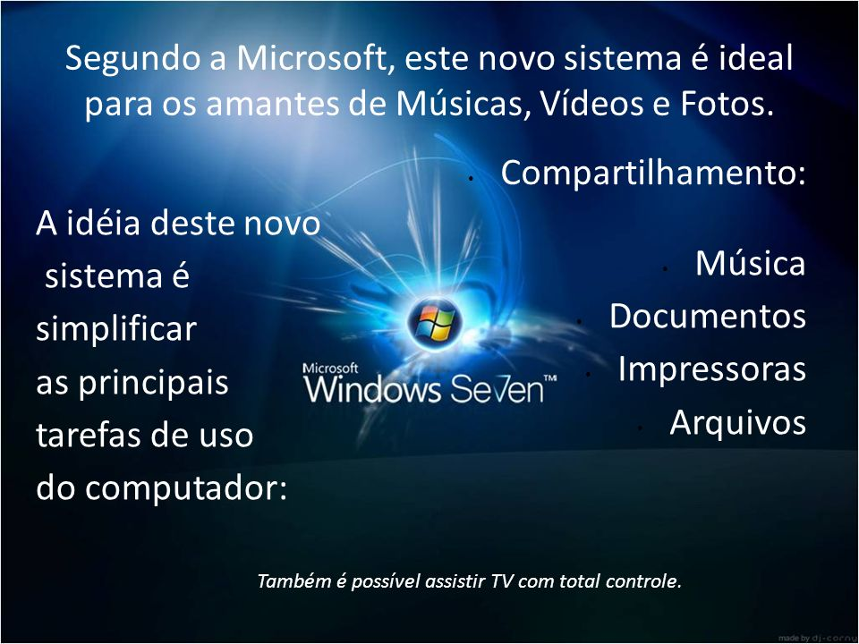Segundo a Microsoft, este novo sistema é ideal para os amantes de Músicas, Vídeos e Fotos. A idéia deste novo sistema é simplificar as principais tare