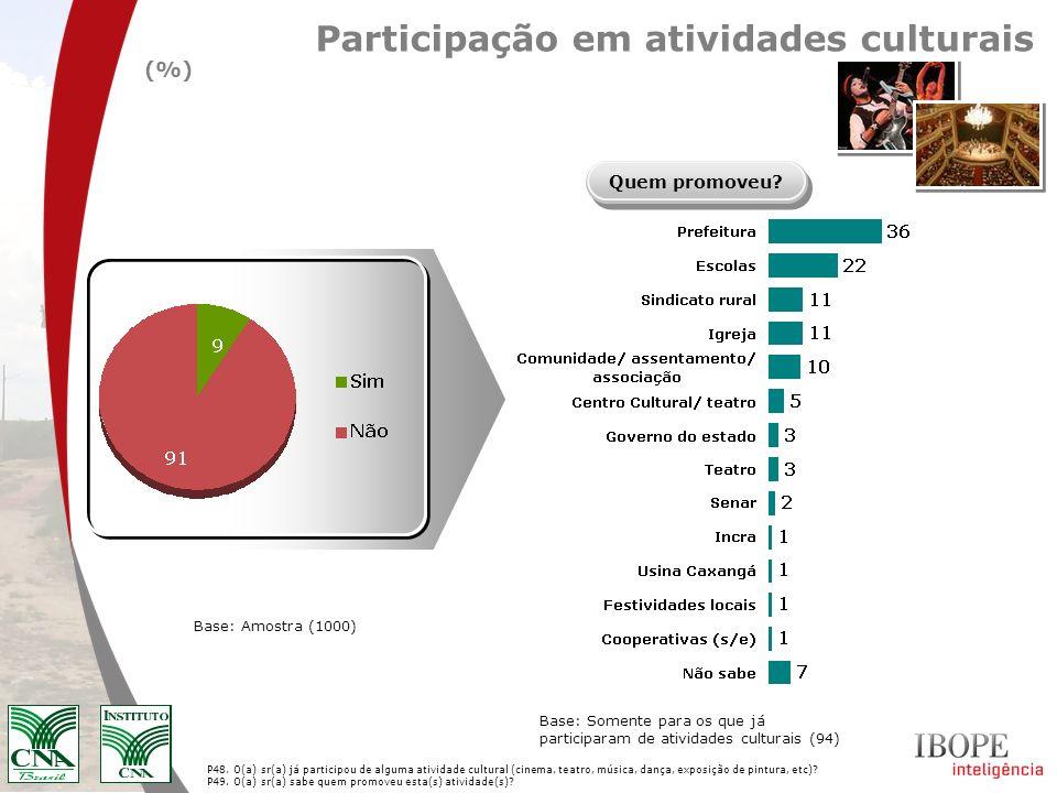 P48. O(a) sr(a) já participou de alguma atividade cultural (cinema, teatro, música, dança, exposição de pintura, etc)? P49. O(a) sr(a) sabe quem promo