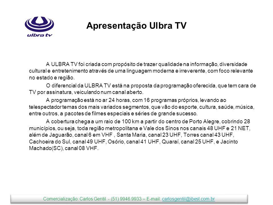 Abrangência TV aberta canal 48 UHF e a cabo 21 NET-POA Retransmissoras nas Cidades de Jaguarão (06VHF), Santa Maria(23 UHF), Torres(43UHF); Cachoeira do Sul (49 UHF) e Jacinto Machado (SC – 08VHF) ; Osório(41UHF); Quaraí(25 UHF) América do Sul e América Central (Satélite PAS1R) Comercialização: Carlos Gentil - (51) 9946.9933 – E-mail: carlosgentil@ibest.com.brcarlosgentil@ibest.com.br Comercialização: Carlos Gentil - (51) 9946.9933 – E-mail: carlosgentil@ibest.com.brcarlosgentil@ibest.com.br