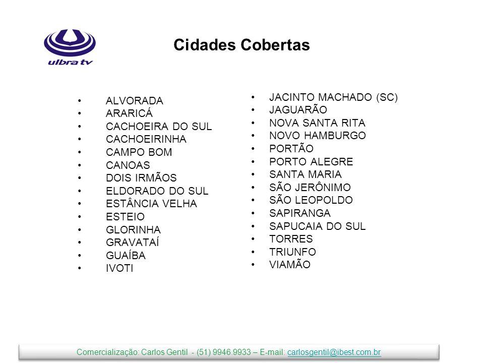 Cidades Cobertas ALVORADA ARARICÁ CACHOEIRA DO SUL CACHOEIRINHA CAMPO BOM CANOAS DOIS IRMÃOS ELDORADO DO SUL ESTÂNCIA VELHA ESTEIO GLORINHA GRAVATAÍ GUAÍBA IVOTI JACINTO MACHADO (SC) JAGUARÃO NOVA SANTA RITA NOVO HAMBURGO PORTÃO PORTO ALEGRE SANTA MARIA SÃO JERÔNIMO SÃO LEOPOLDO SAPIRANGA SAPUCAIA DO SUL TORRES TRIUNFO VIAMÃO Comercialização: Carlos Gentil - (51) 9946.9933 – E-mail: carlosgentil@ibest.com.brcarlosgentil@ibest.com.br Comercialização: Carlos Gentil - (51) 9946.9933 – E-mail: carlosgentil@ibest.com.brcarlosgentil@ibest.com.br
