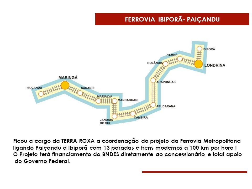 FERROVIA IBIPORÃ- PAIÇANDU Ficou a cargo da TERRA ROXA a coordenação do projeto da Ferrovia Metropolitana ligando Paiçandu a Ibiporã com 13 paradas e
