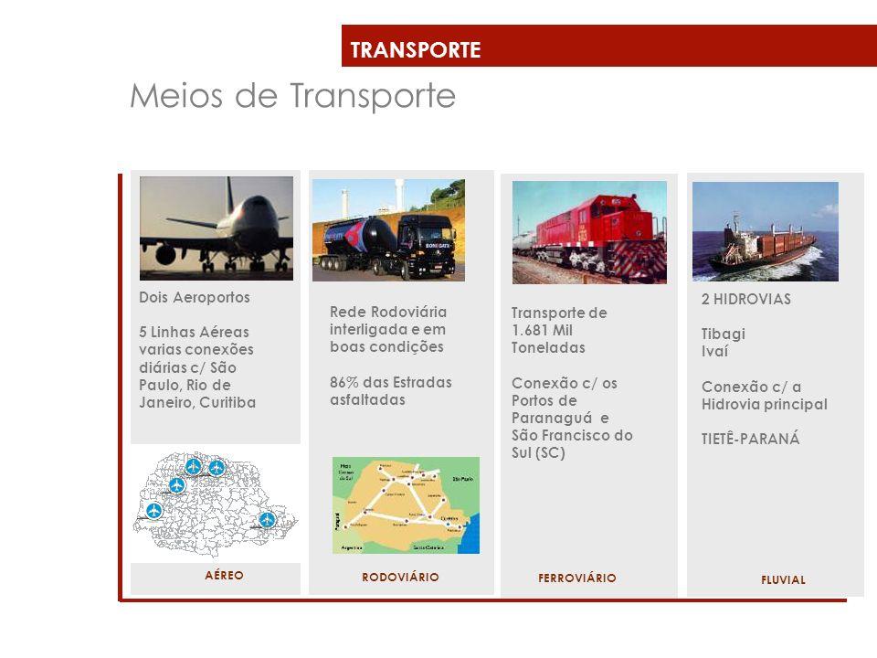 TRANSPORTE Meios de Transporte Dois Aeroportos 5 Linhas Aéreas varias conexões diárias c/ São Paulo, Rio de Janeiro, Curitiba AÉREO Rede Rodoviária in