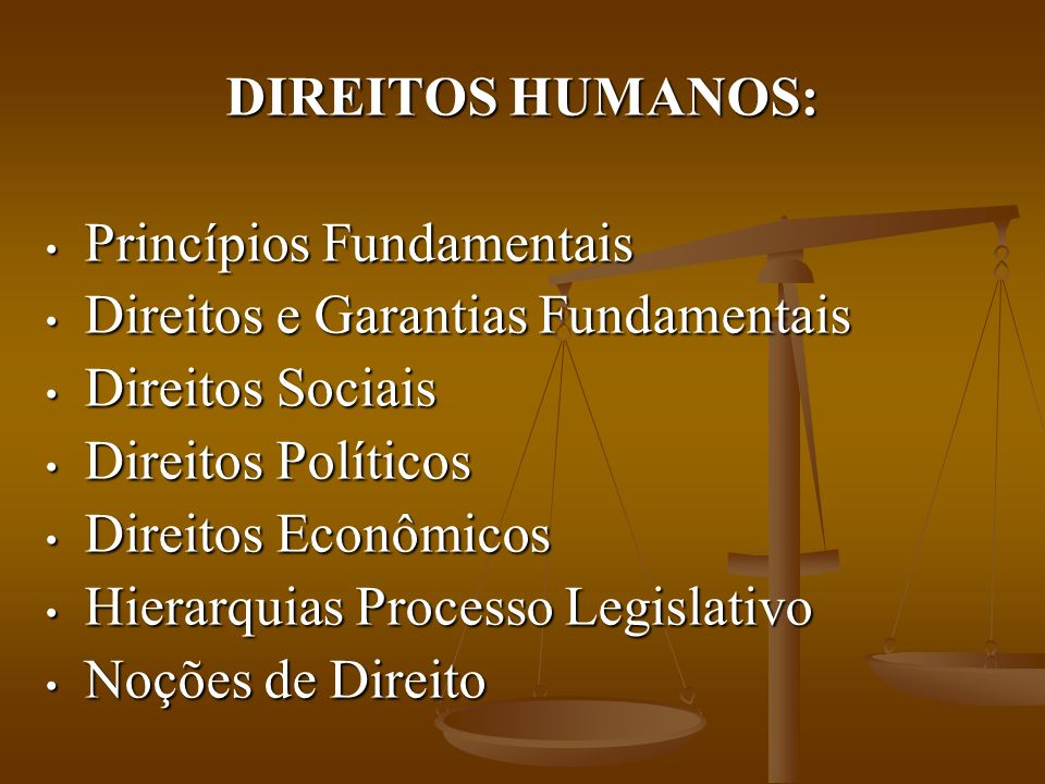 DIREITOS HUMANOS: Princípios Fundamentais Princípios Fundamentais Direitos e Garantias Fundamentais Direitos e Garantias Fundamentais Direitos Sociais Direitos Sociais Direitos Políticos Direitos Políticos Direitos Econômicos Direitos Econômicos Hierarquias Processo Legislativo Hierarquias Processo Legislativo Noções de Direito Noções de Direito