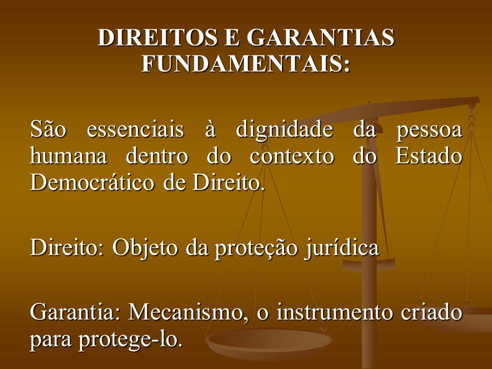 DIREITOS E GARANTIAS FUNDAMENTAIS: São essenciais à dignidade da pessoa humana dentro do contexto do Estado Democrático de Direito.