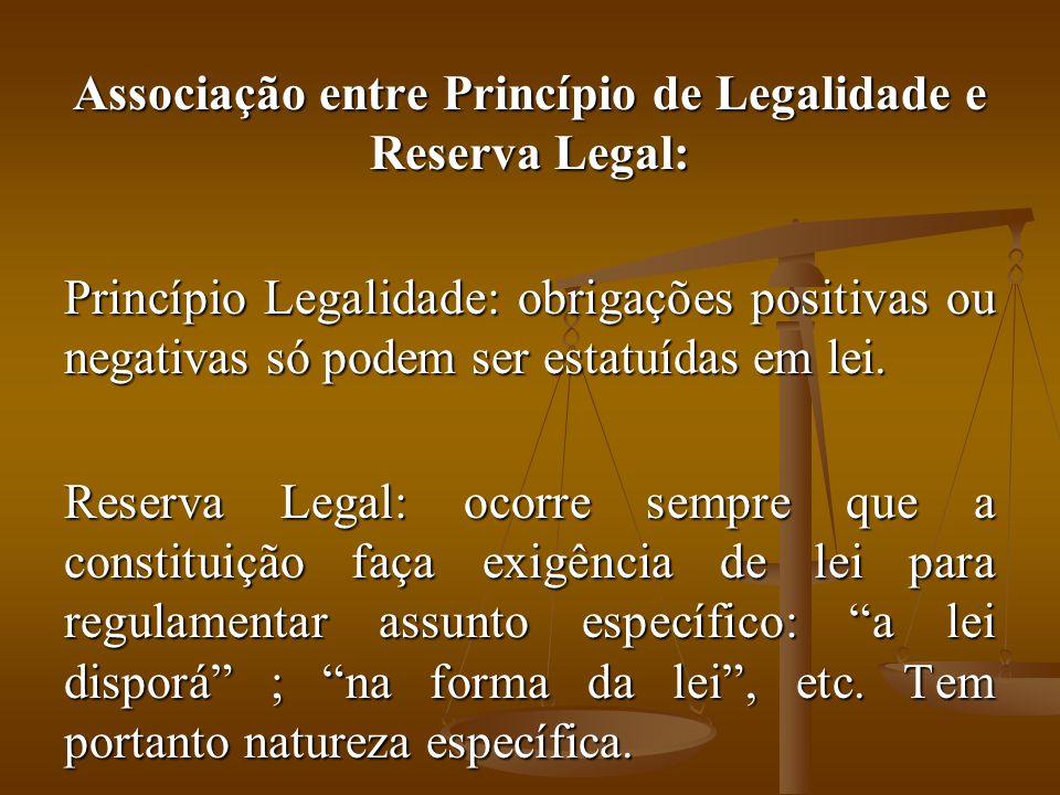 Associação entre Princípio de Legalidade e Reserva Legal: Princípio Legalidade: obrigações positivas ou negativas só podem ser estatuídas em lei.