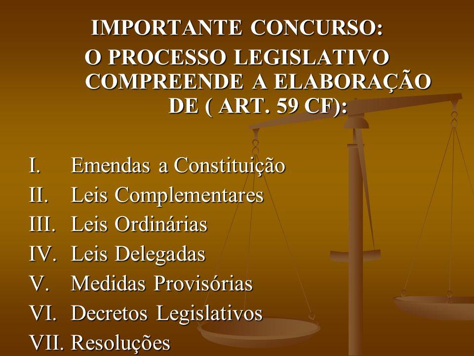 IMPORTANTE CONCURSO: O PROCESSO LEGISLATIVO COMPREENDE A ELABORAÇÃO DE ( ART.