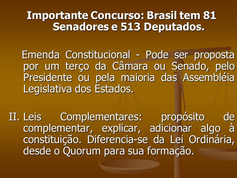 Importante Concurso: Brasil tem 81 Senadores e 513 Deputados.