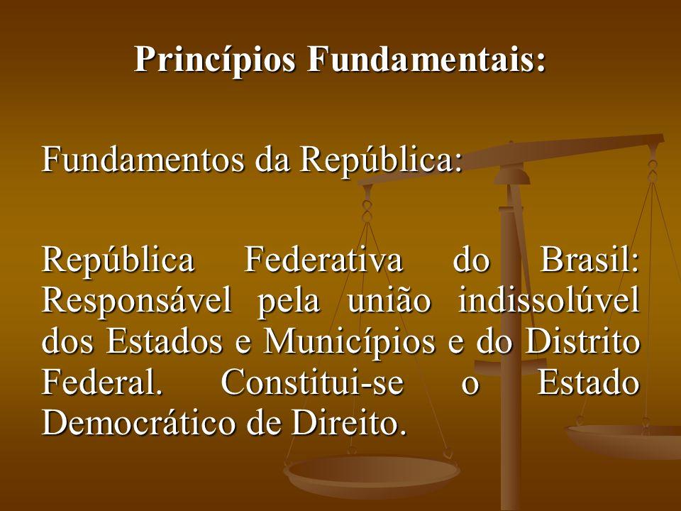 Princípios Fundamentais: Fundamentos da República: República Federativa do Brasil: Responsável pela união indissolúvel dos Estados e Municípios e do Distrito Federal.