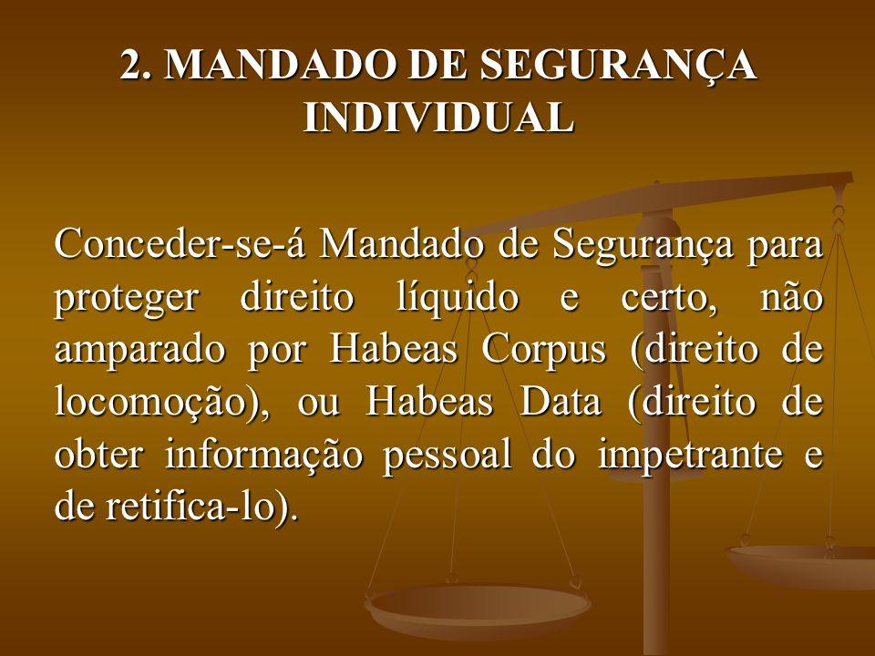 2. MANDADO DE SEGURANÇA INDIVIDUAL Conceder-se-á Mandado de Segurança para proteger direito líquido e certo, não amparado por Habeas Corpus (direito d