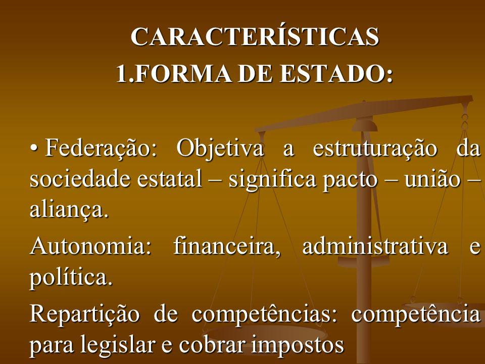 CARACTERÍSTICAS 1.FORMA DE ESTADO: Federação: Objetiva a estruturação da sociedade estatal – significa pacto – união – aliança.