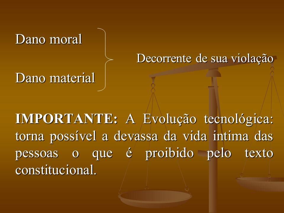 Dano moral Decorrente de sua violação Dano material IMPORTANTE: A Evolução tecnológica: torna possível a devassa da vida intima das pessoas o que é pr