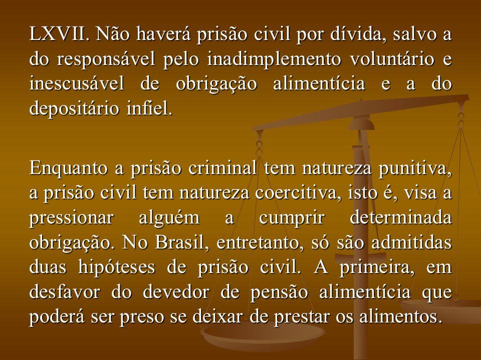 LXVII. Não haverá prisão civil por dívida, salvo a do responsável pelo inadimplemento voluntário e inescusável de obrigação alimentícia e a do deposit