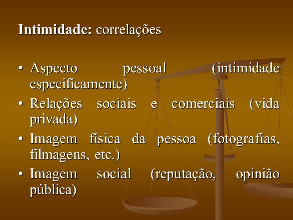 Intimidade: correlações Aspecto pessoal (intimidade especificamente)Aspecto pessoal (intimidade especificamente) Relações sociais e comerciais (vida p