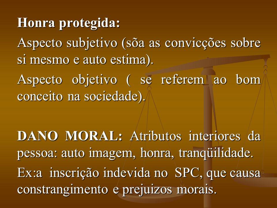 Honra protegida: Aspecto subjetivo (sõa as convicções sobre si mesmo e auto estima). Aspecto objetivo ( se referem ao bom conceito na sociedade). DANO