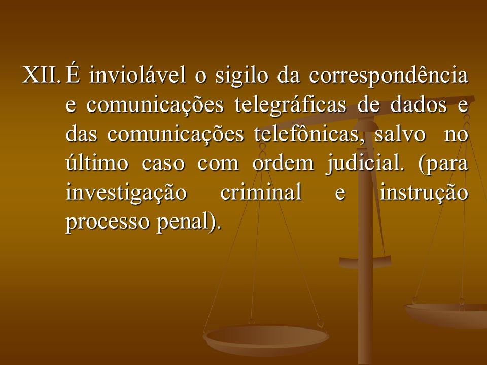 XII.É inviolável o sigilo da correspondência e comunicações telegráficas de dados e das comunicações telefônicas, salvo no último caso com ordem judic