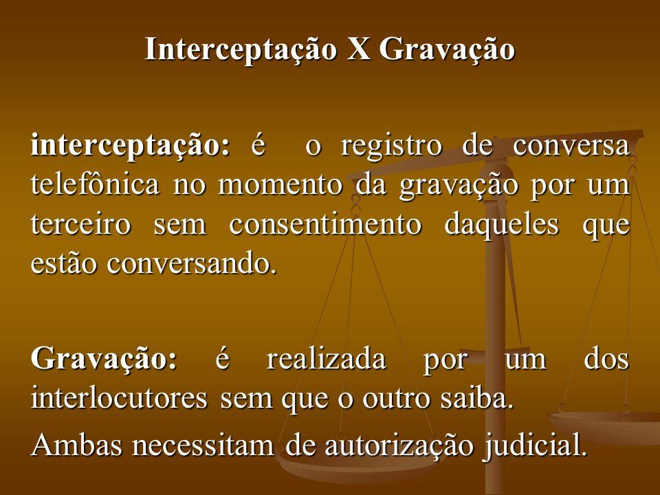 Interceptação X Gravação interceptação: é o registro de conversa telefônica no momento da gravação por um terceiro sem consentimento daqueles que estã