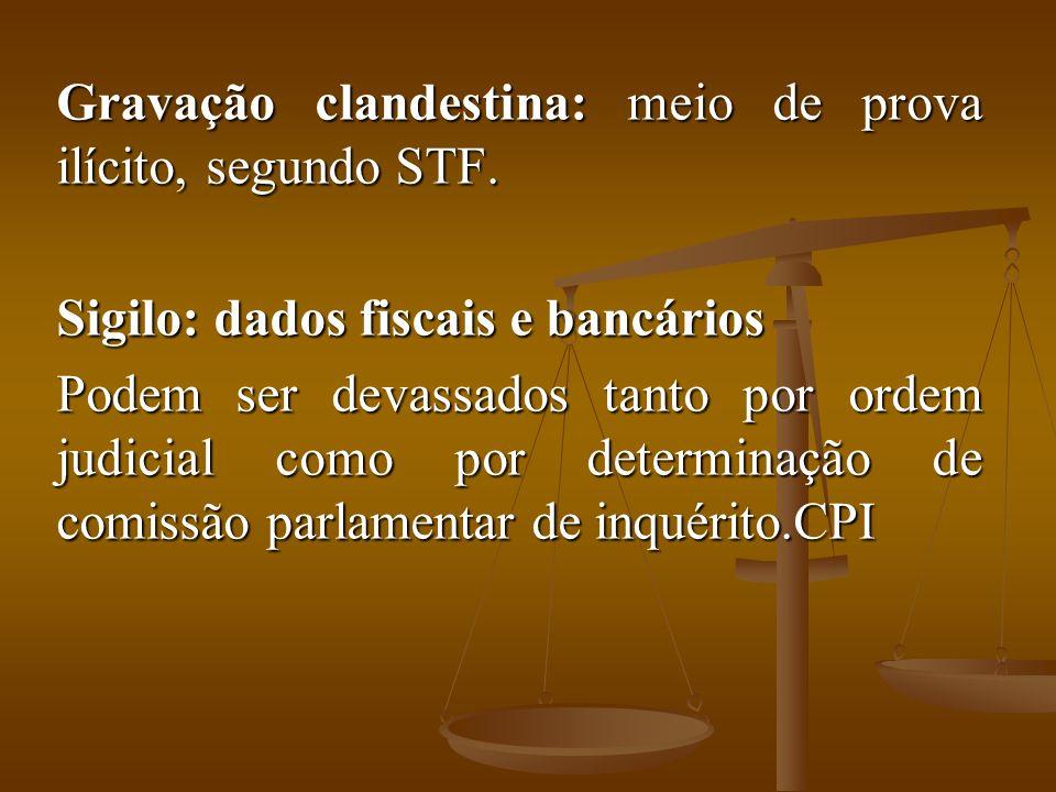 Gravação clandestina: meio de prova ilícito, segundo STF. Sigilo: dados fiscais e bancários Podem ser devassados tanto por ordem judicial como por det