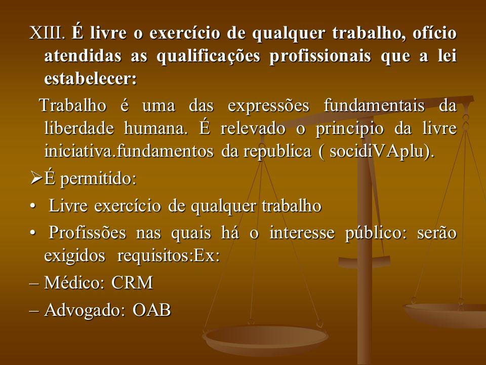 XIII. É livre o exercício de qualquer trabalho, ofício atendidas as qualificações profissionais que a lei estabelecer: Trabalho é uma das expressões f