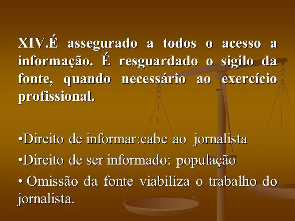 XIV.É assegurado a todos o acesso a informação. É resguardado o sigilo da fonte, quando necessário ao exercício profissional. Direito de informar:cabe