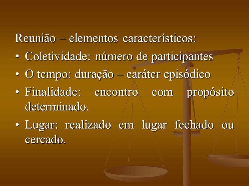 Reunião – elementos característicos: Coletividade: número de participantesColetividade: número de participantes O tempo: duração – caráter episódicoO