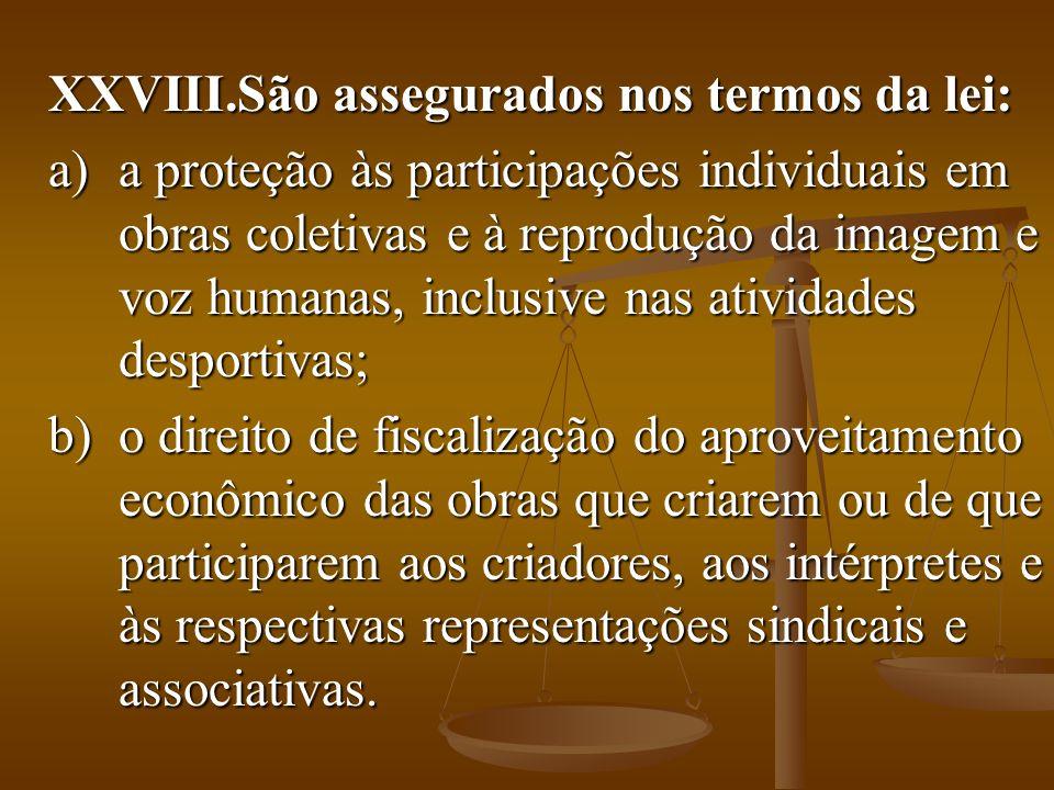 XXVIII.São assegurados nos termos da lei: a)a proteção às participações individuais em obras coletivas e à reprodução da imagem e voz humanas, inclusi
