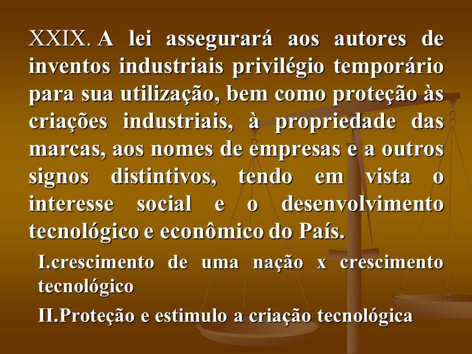 XXIX. A lei assegurará aos autores de inventos industriais privilégio temporário para sua utilização, bem como proteção às criações industriais, à pro