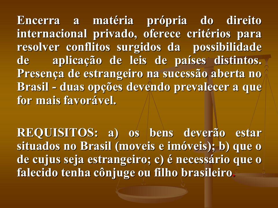 Encerra a matéria própria do direito internacional privado, oferece critérios para resolver conflitos surgidos da possibilidade de aplicação de leis d