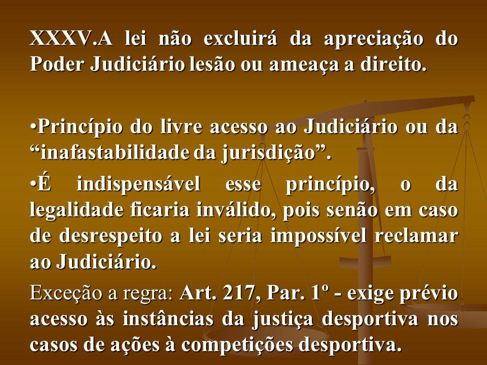 XXXV.A lei não excluirá da apreciação do Poder Judiciário lesão ou ameaça a direito. Princípio do livre acesso ao Judiciário ou da inafastabilidade da