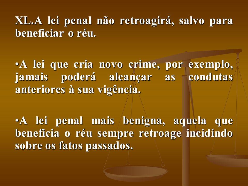 XL.A lei penal não retroagirá, salvo para beneficiar o réu. A lei que cria novo crime, por exemplo, jamais poderá alcançar as condutas anteriores à su
