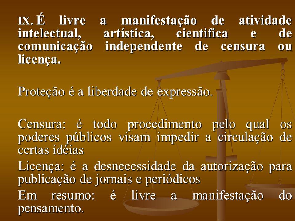 IX. É livre a manifestação de atividade intelectual, artística, cientifica e de comunicação independente de censura ou licença. Proteção é a liberdade