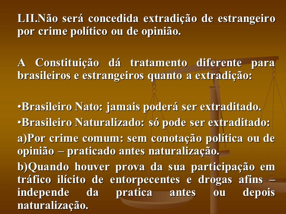 LII.Não será concedida extradição de estrangeiro por crime político ou de opinião. A Constituição dá tratamento diferente para brasileiros e estrangei