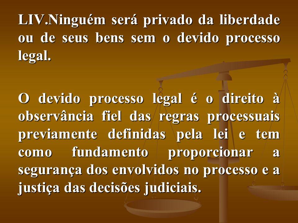 LIV.Ninguém será privado da liberdade ou de seus bens sem o devido processo legal. O devido processo legal é o direito à observância fiel das regras p