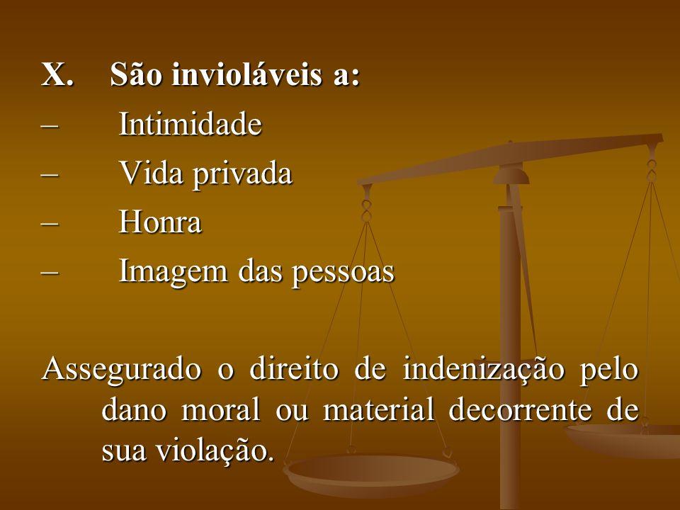 X. São invioláveis a: – Intimidade – Vida privada – Honra – Imagem das pessoas Assegurado o direito de indenização pelo dano moral ou material decorre