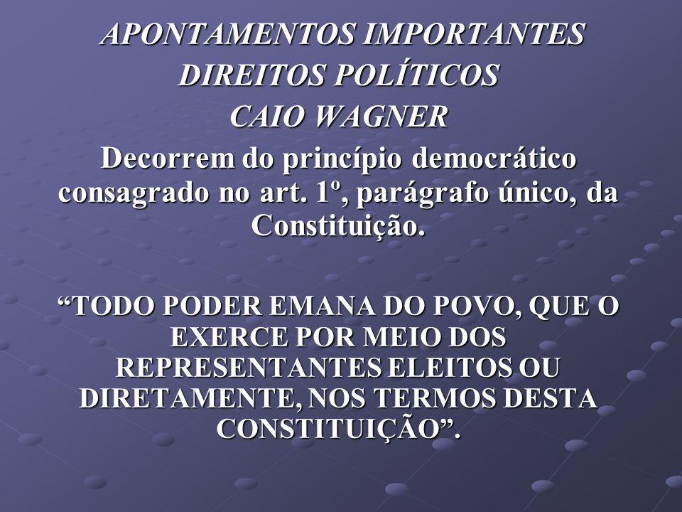 APONTAMENTOS IMPORTANTES APONTAMENTOS IMPORTANTES DIREITOS POLÍTICOS CAIO WAGNER Decorrem do princípio democrático consagrado no art. 1º, parágrafo ún