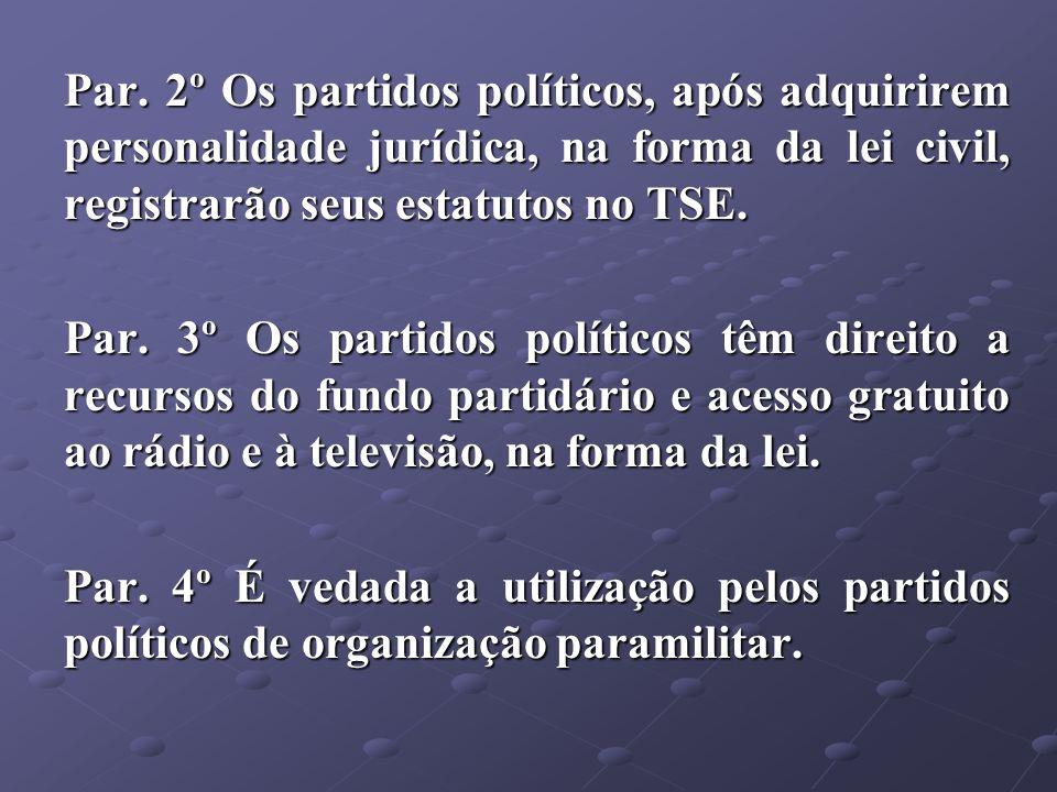Par. 2º Os partidos políticos, após adquirirem personalidade jurídica, na forma da lei civil, registrarão seus estatutos no TSE. Par. 3º Os partidos p