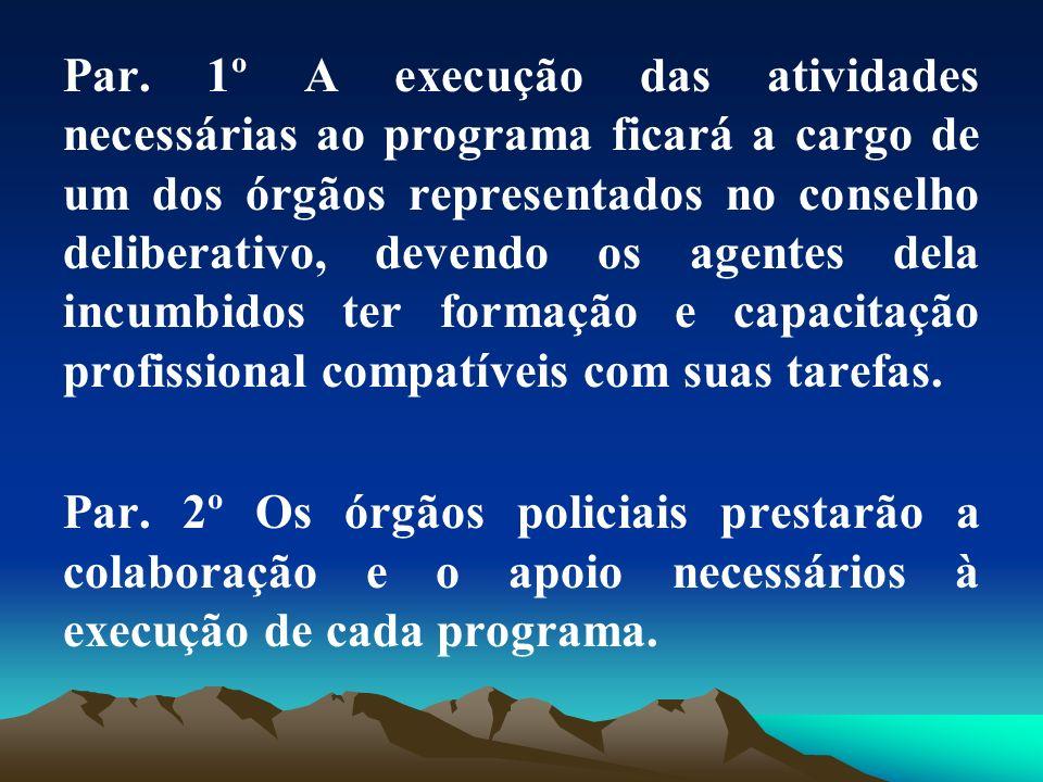 Par. 1º A execução das atividades necessárias ao programa ficará a cargo de um dos órgãos representados no conselho deliberativo, devendo os agentes d