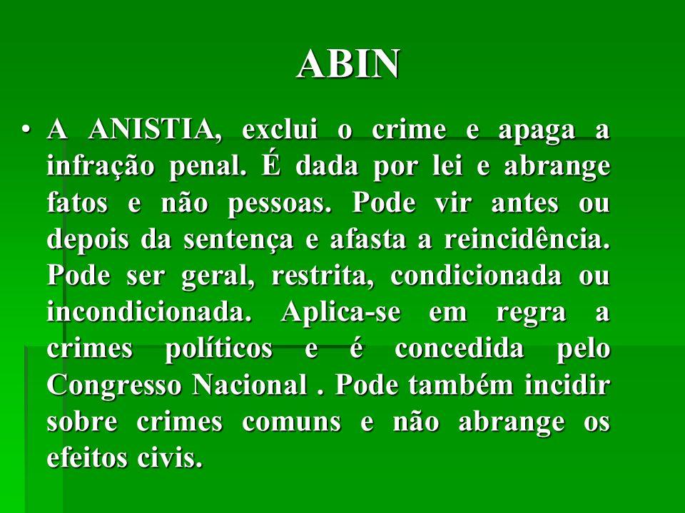 ABIN A ANISTIA, exclui o crime e apaga a infração penal.