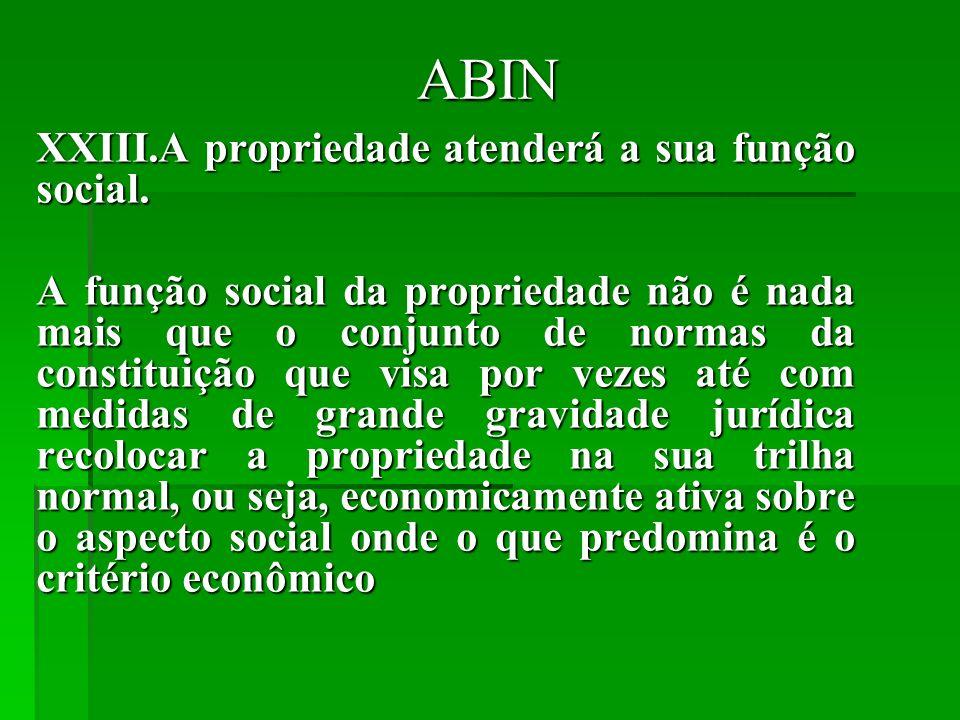 ABIN XXIII.A propriedade atenderá a sua função social.