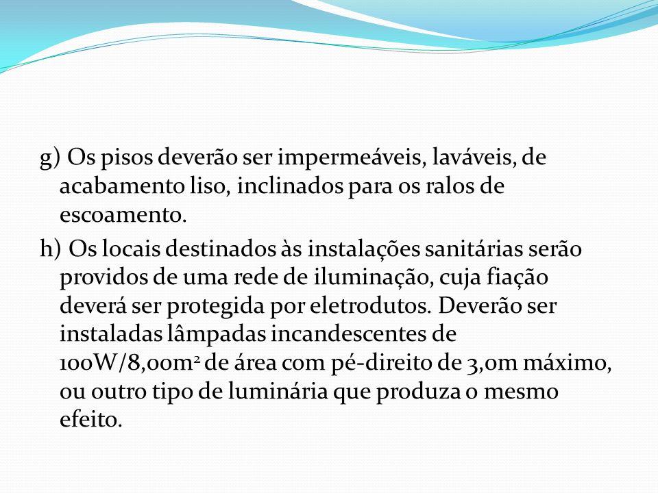 g) Os pisos deverão ser impermeáveis, laváveis, de acabamento liso, inclinados para os ralos de escoamento. h) Os locais destinados às instalações san